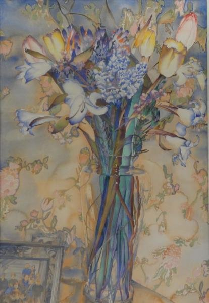 """Large Watercolor Still Life with Flowers """"Memory"""