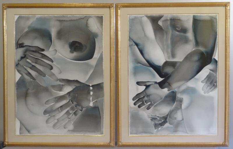 Pair of Large Black & White Watercolors of Nudes