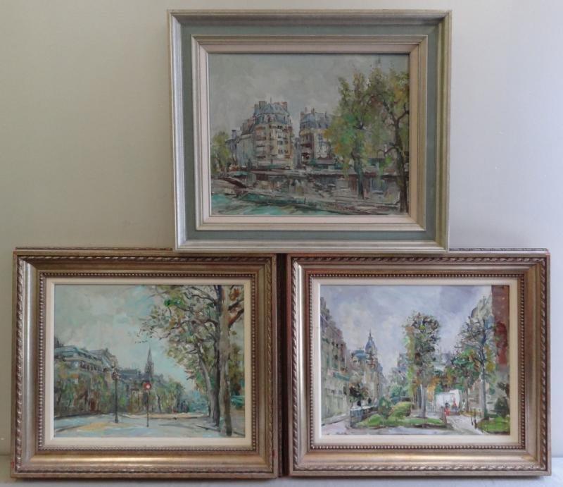 BLAZEV, Nicola. 3 Oil on Canvas Parisian Street