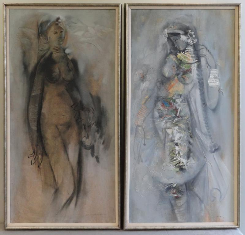 SIVANESAN, M. Pair of Oils on Canvas of a Nude and