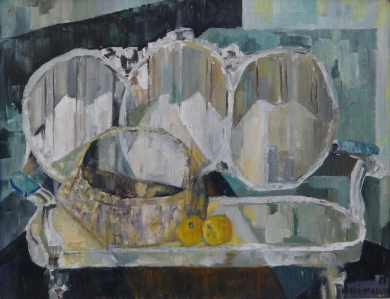 MASSON, Herve. Oil on Canvas Still Life with Sofa.