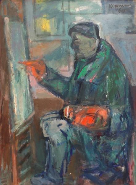 """KOPMAN, Benjamin. Oil on Canvas """"The Old Artist."""""""