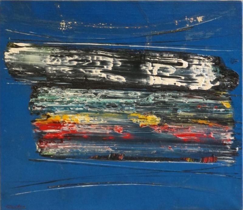 """CARTON, Norman. Oil on Canvas """"Blue Cosmos."""""""