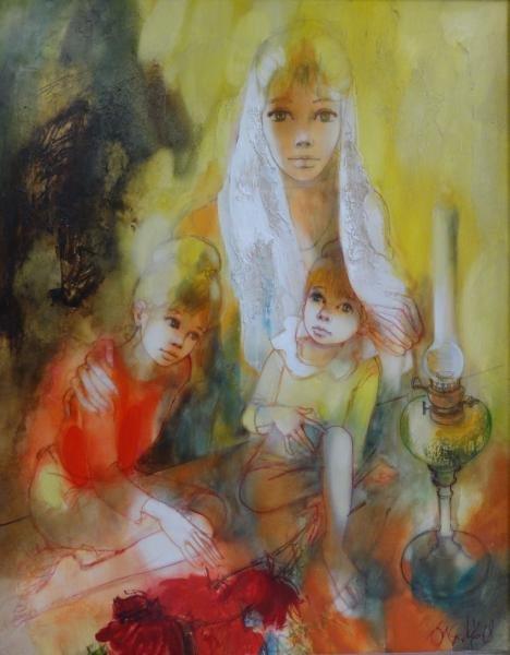 "VALADIE, Jean Baptiste. Oil on Canvas ""Affection."""