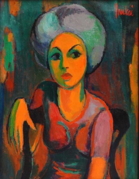 INUKAI, Kyohei. Oil on Canvas Portrait of a Woman.