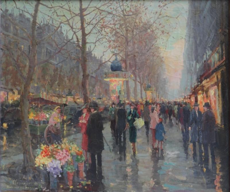 """LAZAREV, Vladamir. Oil on Canvas """"Boulevard Des"""