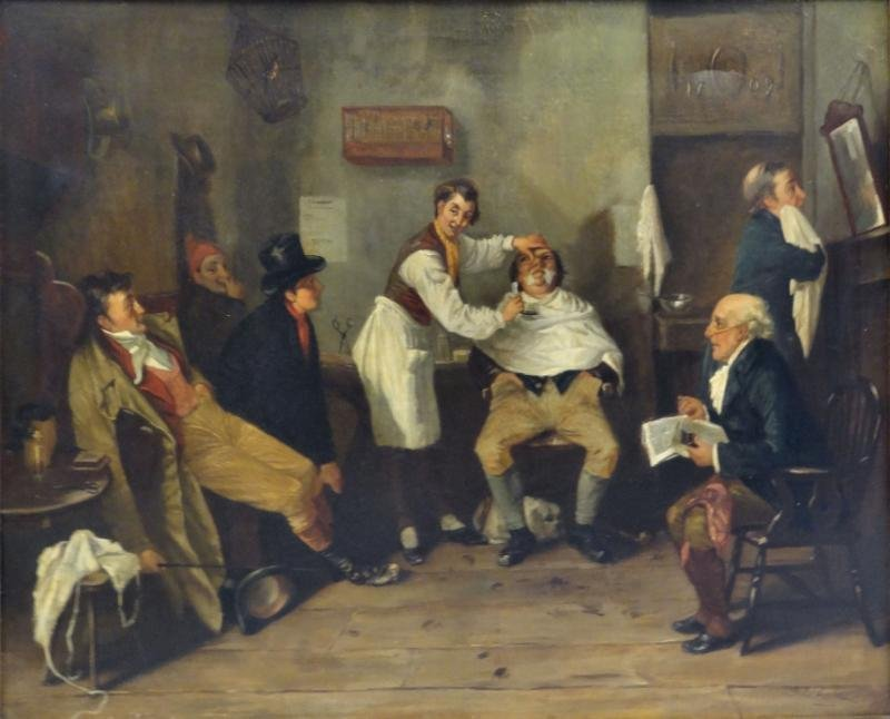 BANKS, S. E. 19th C. Oil on Canvas Barbershop