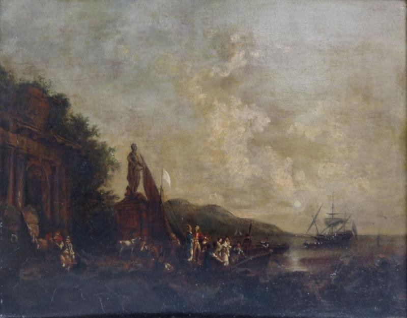 "After Carle Vernet. Oil/Canvas ""The Embarkation."""