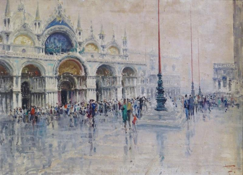PAGAN, Luigi. Oil on Canvas of Piazza San Marco.