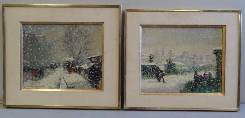 HERVE, Jules. Pair of Oil on Canvas Winter Street