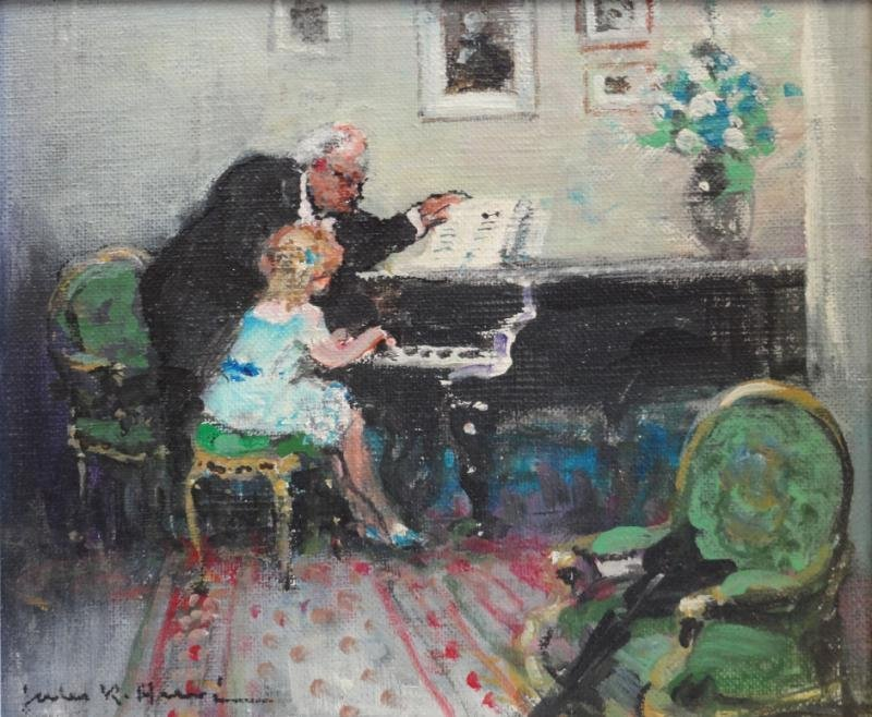 HERVE, Jules. Oil on Canvas of Child's Piano