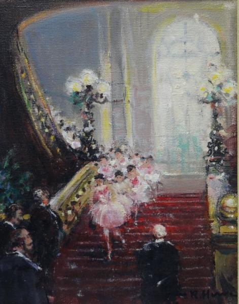 HERVE, Jules. Oil on Canvas of Ballerinas.