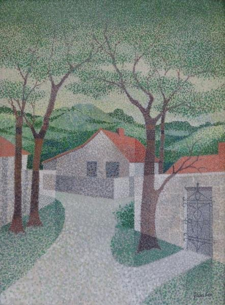 GLAUBER. Pointillist Oil on Masonite of House in