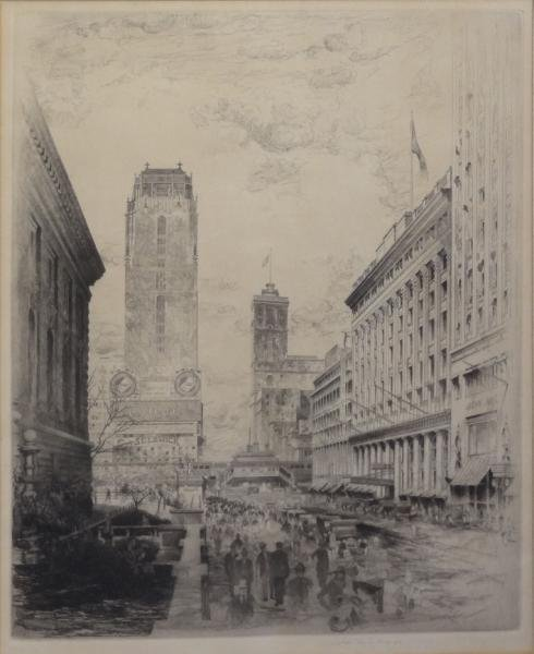 "ARMS, John Taylor. Etching ""West 42nd Street."""