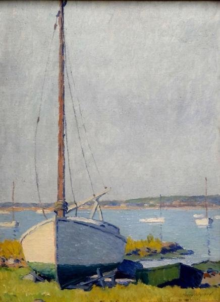 NEYLAND, Harry. Oil on Board of Sailboat at Shore.