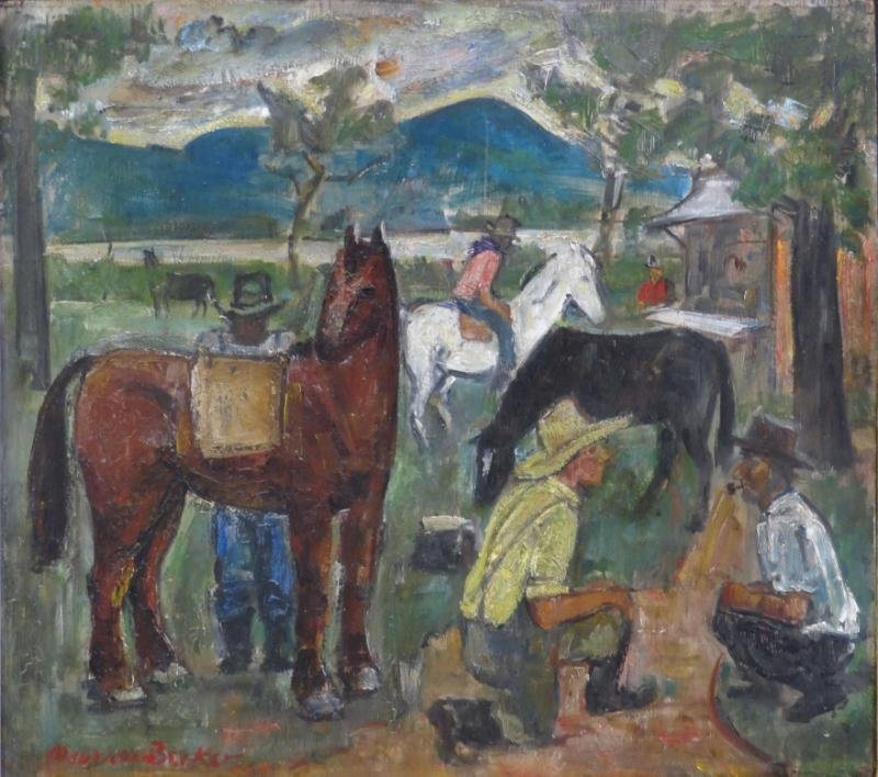 "BECKER, Maurice. Oil/Wood Panel. ""Horse Dealers."""