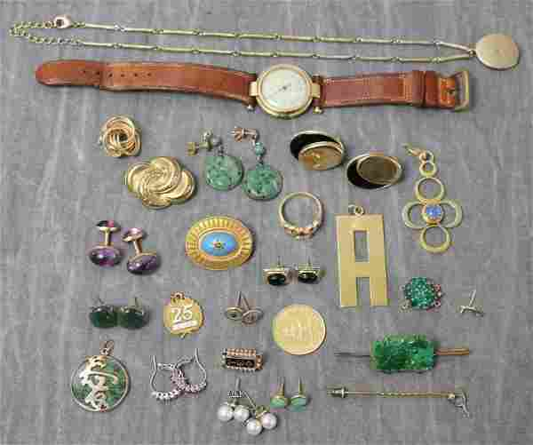 JEWELRY. Grouping of Gold and Gold Filled Jewelry.