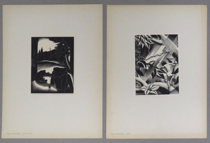 "LANDACRE, Paul. Two Woodblock Prints ""Sultry Day"""