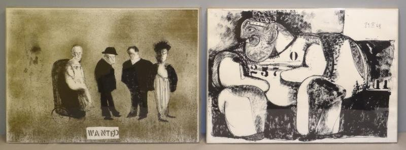 "CUEVAS, Jose L. Two Lithographs. ""Wanted"" & ""Man"