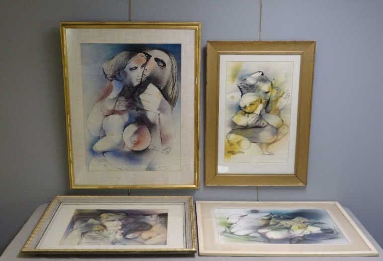 Four Illegibly Signed 20th C. Ink & Watercolors of