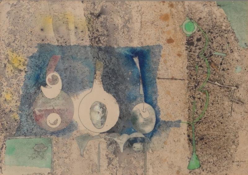 Signed 1967 Modernist Watercolor Still Life.