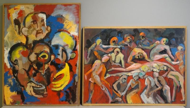 Two Unsigned Mid 20th C. Abstract Oils on Canvas.