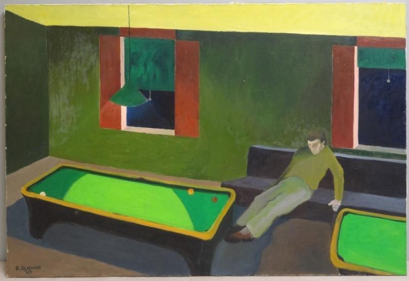 """SCHWAB, David. 1965 Oil on Canvas """"Pool Room."""""""