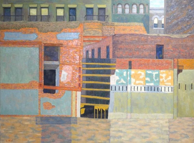 ELIOT, Lucy C. Oil on Canvas of Building Facades.