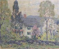 Unsigned Early 20th C Oil on Canvas of a House in