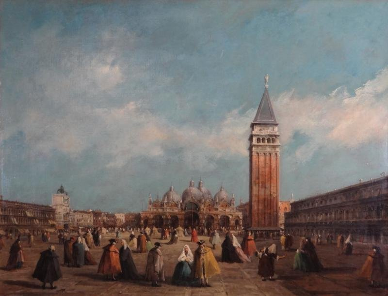 Oil on Canvas of Piazza San Marco in the Manner of