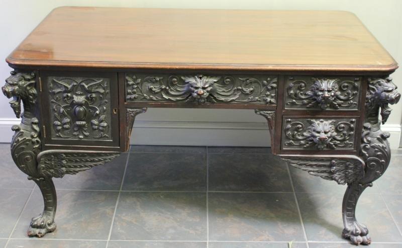 HORNER? Highly Carved Mahogany Desk.