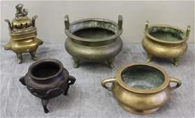 Antique Bronze Asian Censor Lot