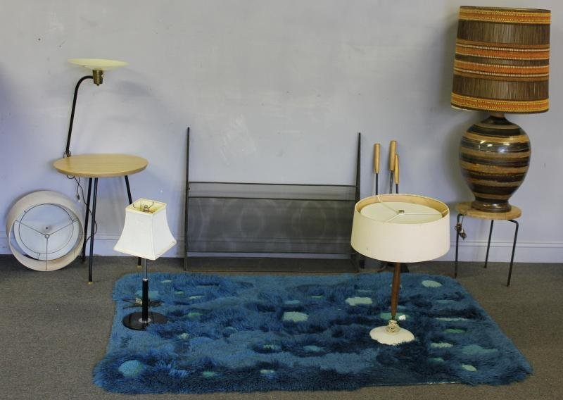 Midcentury Lighting Lot together with a Carpet.