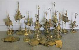 12 Antique Brass Oil Lamps