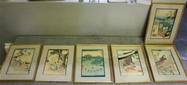 Group of 6 Assorted Japanese Woodblock Prints