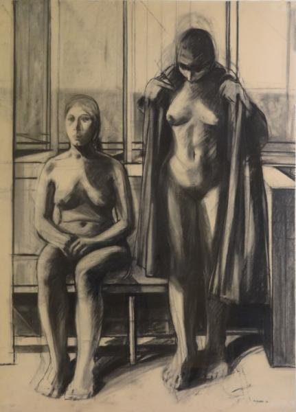 GOODMAN. 1966 Charcoal on Paper of Nudes.