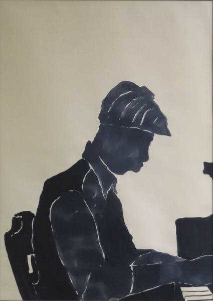 MCNEILL, Lloyd. Ink Wash Silhouette of a Pianist.