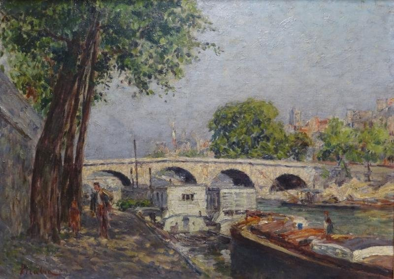 "PICABIA, Francis. Oil on Canvas ""Ponte Marie."""