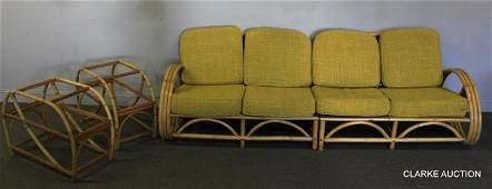 Midcentury Rattan  Bamboo Patio Set