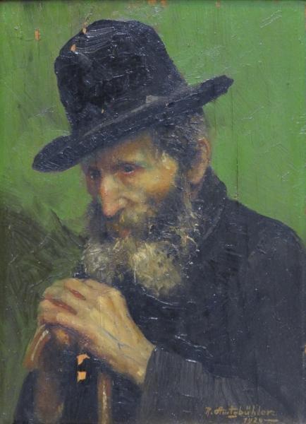 AMTSBUHLER, Reinhard. Oil on Panel of Bearded Man