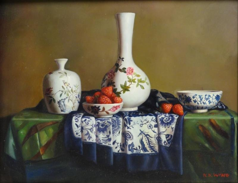 WONG, K. K. Oil on Board Still Life with Vases and