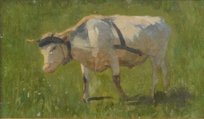 MEISSER, Adolf Ernst. Oil on Board of a Cow.