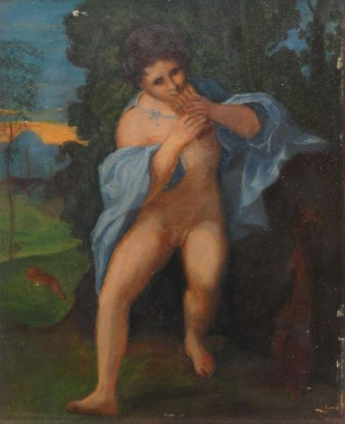 Antique Oil on Panel of a Classical Nude Piper.
