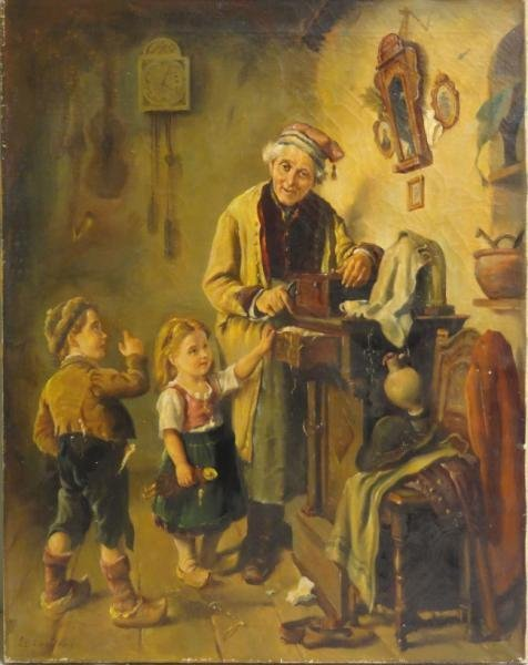 """CAMERON, G. L. Oil on Canvas """"The Old Music Box."""""""