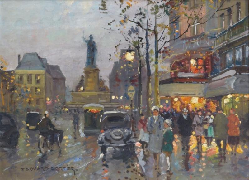 """CORTES, Edouard. Oil on Canvas """"Place de la"""