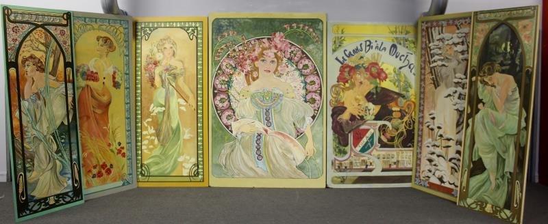 5 Art Nouveau Style Painted Panels.