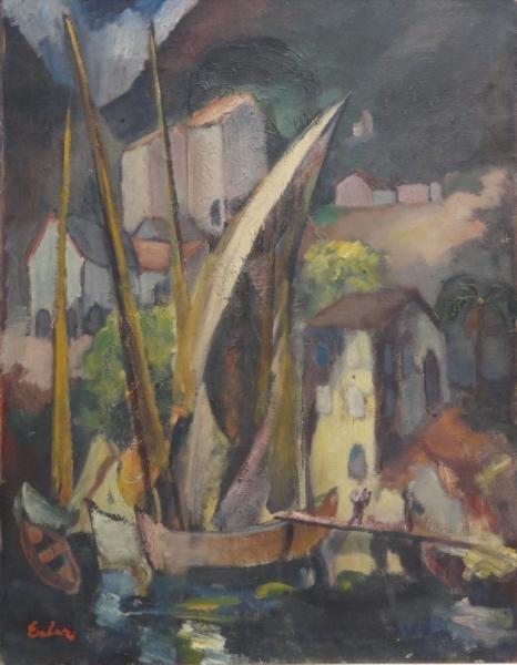 EMLER, Frantisek. Oil on Canvas. Harbor Scene.