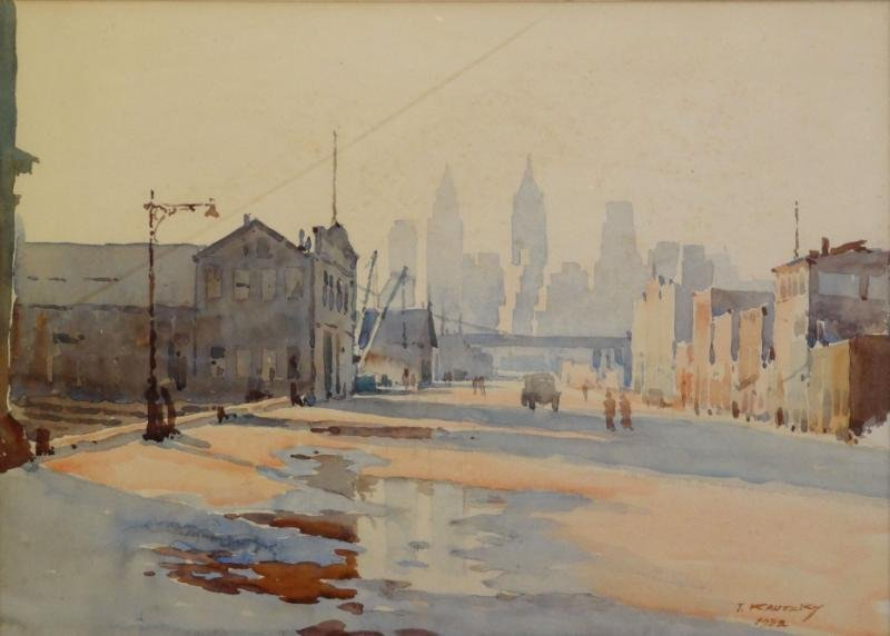 KAUTZSKY, Ted. Watercolor. View of Manhattan From
