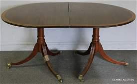 Banded Mahogany Twin Pedestal Dining Table.