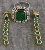 JEWELRY. 14kt, Emerald, and Diamond Grouping.